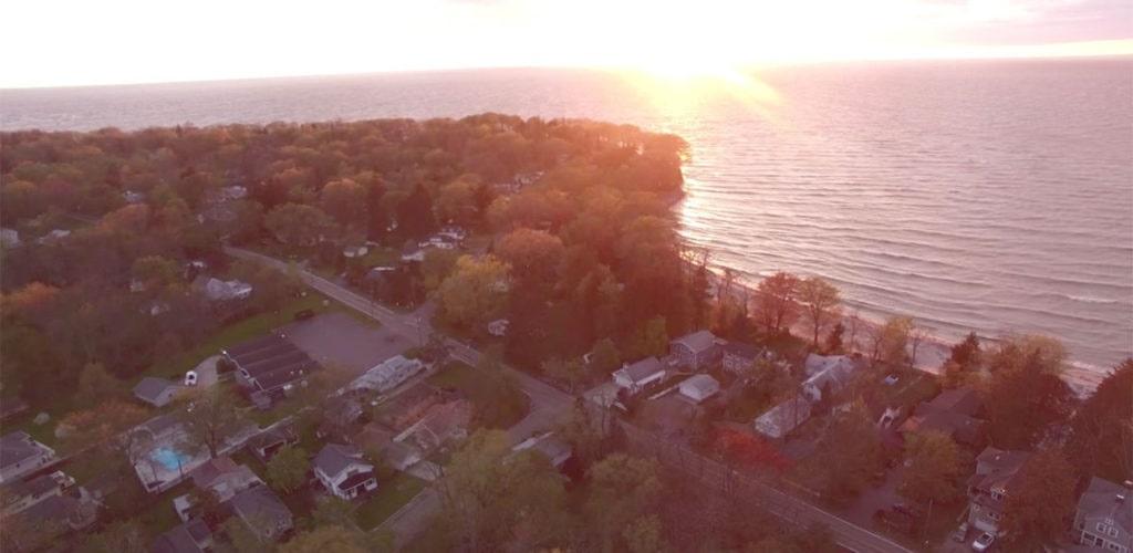 Aerial of Lake Erie Beach