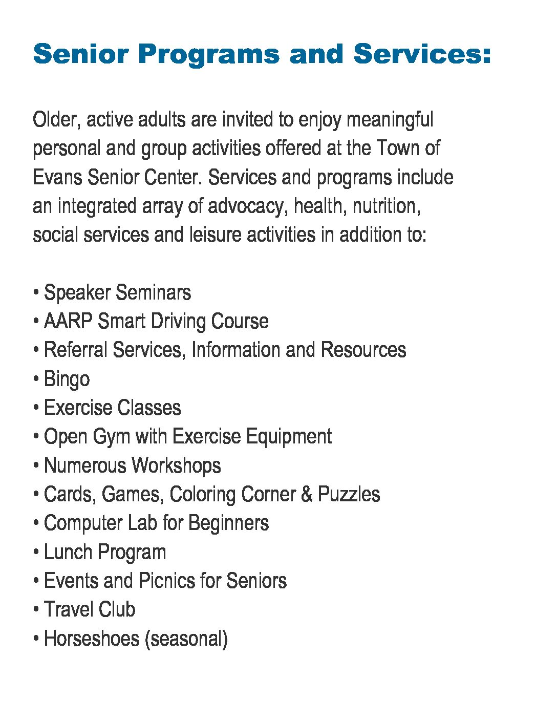 Senior Programs and Services